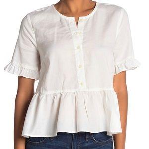 Madewell Short Sleeve Ruffle Hem Top | Size L